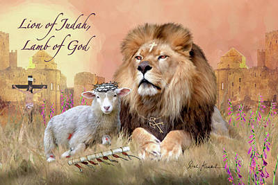 Jesus Painting - Pictures Of Jesus - Christian Religious Art Lion Of Judah Lamb Of God by Dale Kunkel Art