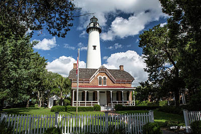 Picturesque St. Simons Lighthouse Print by Walt Baker