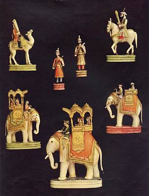 Pieces From A Chess Set In Carved And Print by Vintage Design Pics