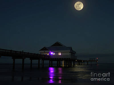 Man In The Moon Photograph - Pier 60 And The Hunters Full Moon by D Hackett