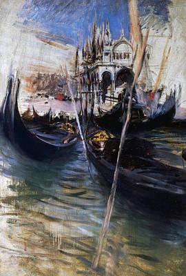 Pier And San Marco In Venice Print by Giovanni Boldini