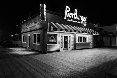 Pier Burger Santa Monica Pier Black And White Print by John McGraw