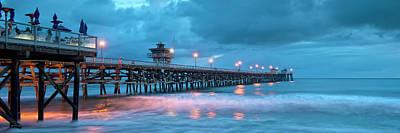 California Ocean Photograph - Pier In Blue Panorama by Gary Zuercher
