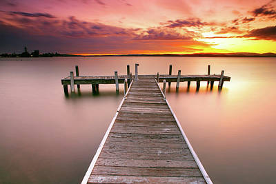 Australia Photograph - Pier In Lake Macquarie At Sunset, Australia by Yury Prokopenko