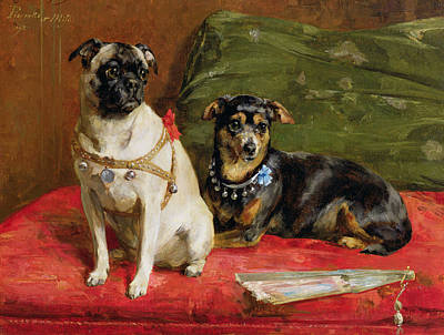 Pug Painting - Pierette And Mifs by Charles van den Eycken