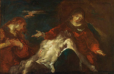 Mary Magdalene Painting - Pieta With Mary Magdalene by Giuseppe Bazzani