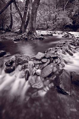Pigeon Forge River Great Smoky Mountains Bw Print by Steve Gadomski