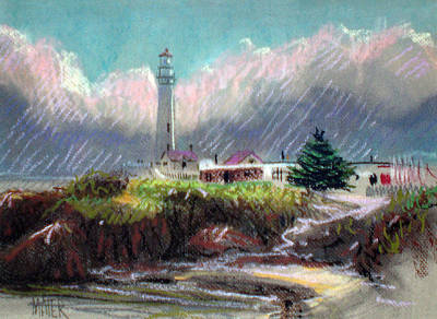 Pigeon Drawing - Pigeon Point Light by Donald Maier