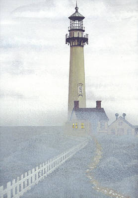 Pigeon Mixed Media - Pigeon Point Light In Fog by James Lyman