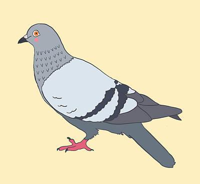 Pigeon Mixed Media - Pigeon Yellow by Nicole Wilson