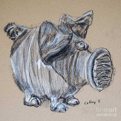 Piggy Bank Drawing By Caffrey Fielding Print by Caffrey Fielding
