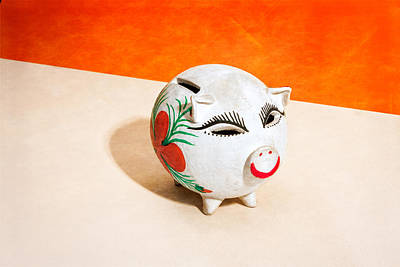 Coins Photograph - Piggy Bank Wink by Yo Pedro