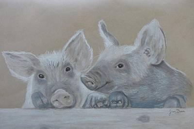 Piglets Drawing - Piglet  Friends by Zina Dean