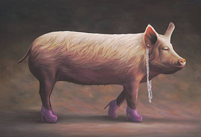 Of A Pig Painting - Piglet's First Beauty Pageant by Paul Bond