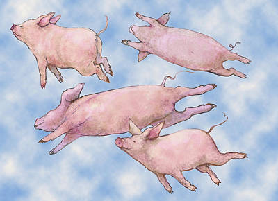 Pig Mixed Media - Pigs Fly by Peggy Wilson