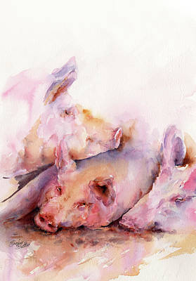 Pigs In Clover Print by Stephie Butler