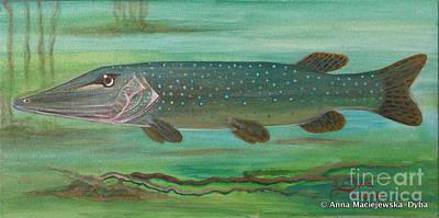 Polskie Obrazy Painting - Pike by Anna Folkartanna Maciejewska-Dyba