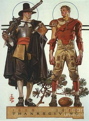 Poster Painting - Pilgrim And Football Player by Leyendecker