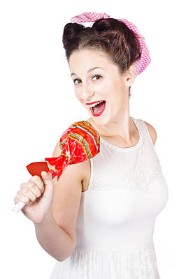 Pin-up Girl Singing Into Large Lollypop Microphone Print by Jorgo Photography - Wall Art Gallery