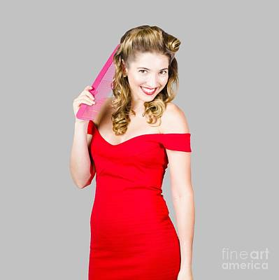 Pin-up Styled Fashion Model With Classic Hairstyle Print by Jorgo Photography - Wall Art Gallery