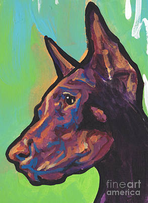 Doberman Art Painting - Pinch Me Red by Lea S