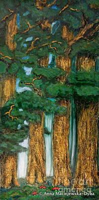 Polscy Malarze Painting - Pine Grove by Anna Folkartanna Maciejewska-Dyba