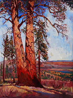 National Parks Painting - Pine Shadows by Erin Hanson