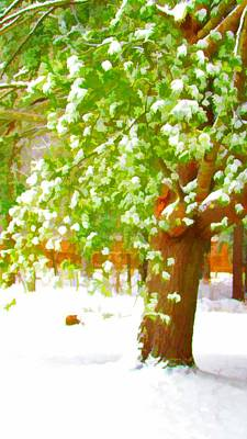 Twiggy Painting - Pine Tree Covered With Snow 1 by Lanjee Chee