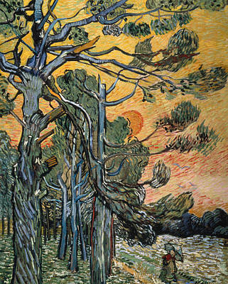Tree At Sunset Painting - Pine Trees At Sunset by Vincent van Gogh