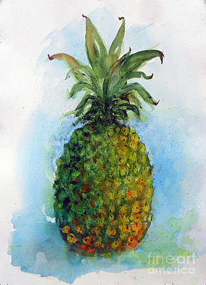 Impressionistic Still Life Painting - Pineapple In Watercolor by Doris Blessington
