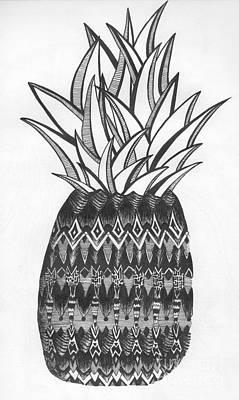 Pineapple Drawing - Intense Fruit by Michael Miller