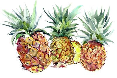 Pineapple Drawing - Pineapples by Suren Nersisyan
