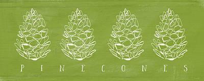 Pinecones-art By Linda Woods Print by Linda Woods