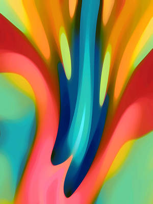 Blue Abstract Painting - Pink And Blue Lily Vertical by Amy Vangsgard