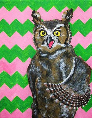 Chevron Owl Painting - Pink And Green Chevron Owl by Mike Kraus