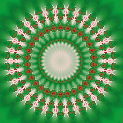 Beautiful Digital Art - Pink And Green Mandala Fractal 005 by Ruth Moratz
