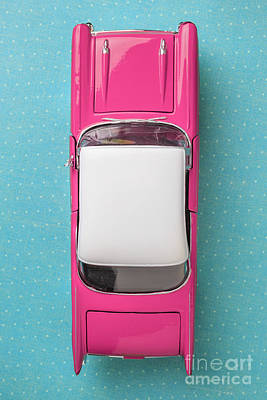 Pink And White Toy Car From Above Print by Edward Fielding
