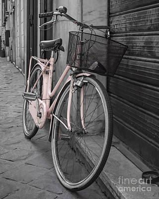 Pink Bicycle In Rome Print by Edward Fielding