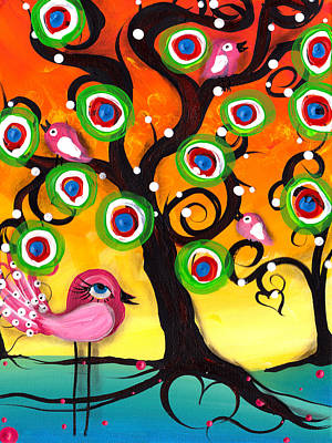 Pink Birds On A Tree Print by  Abril Andrade Griffith