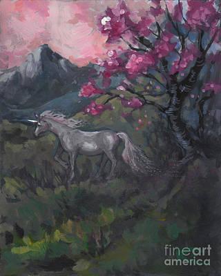 Cherry Blossom Unicorn Print by Kim Marshall