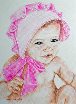 New Baby Art Drawing - Pink Bonnet Baby Drawing by Sun Sohovich