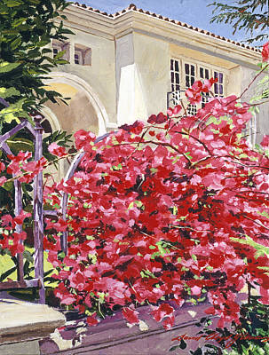 Beverly Hills Painting - Pink Bougainvillea Mansion by David Lloyd Glover