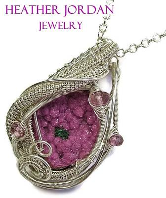 Sterling Silver Jewelry - Pink Cobaltoan Calcite Druzy And Sterling Silver Wire-wrapped Pendant With Pink Rubellite Tourmaline by Heather Jordan