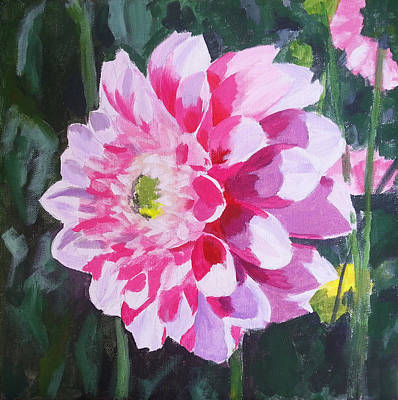 Purple Flowers Painting - Pink Dahlia by Angelina Sofronova