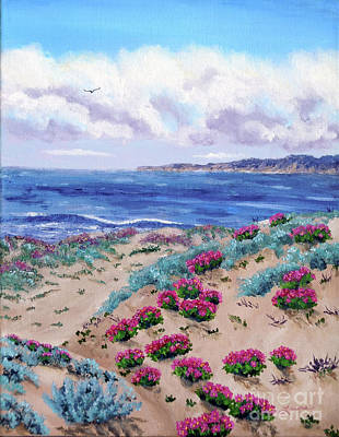Half Moon Bay Painting - Pink Daisies In Sand Dunes by Laura Iverson