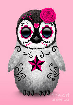 Penguin Digital Art - Pink Day Of The Dead Sugar Skull Penguin by Jeff Bartels