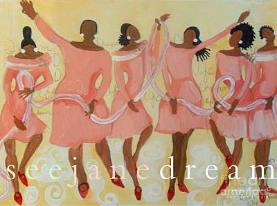 Black Women Painting - Pink Diva Dance by Janie McGee