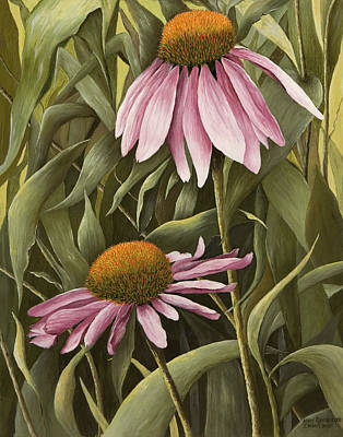 Pink Echinaceas Print by Mary Ann King