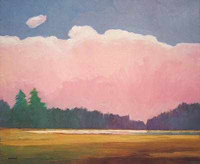 Impressionistic Landscape Painting - Pink Evening by Lutz Baar