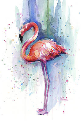 Pink Flamingo Watercolor Print by Olga Shvartsur